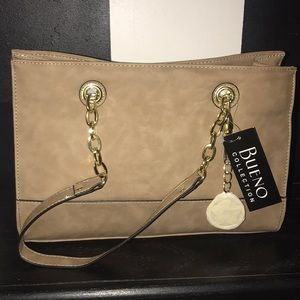 Bueno Collection Tan Purse w/ Gold Details